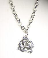 "Rose Bud Charm Pendant Flower pewter Silver Rhodium Chain Necklace Valentine 18"""