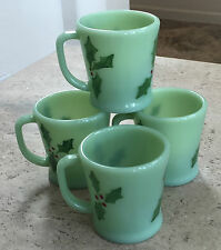 4 Fire King Jadite D Handle FLAT Bottom Coffee Mugs ~ Handpainted Holly Leaves ~