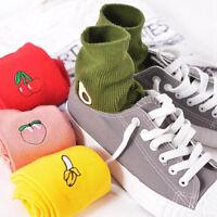 Cute Women Girl 3D Fruit Embroidery Cartoon Cotton High Sock Hosiery Floor Socks