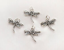 925 Sterling Silver 4 Dragonfly Charms  8x11.5 mm. Small charms