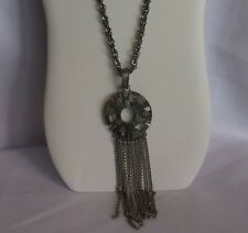 Vintage Sarah Coventry Signed Art Deco Pewter Toned Pendant Necklace TASSLE  #36