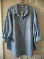 Old Navy Lt Wash Blue Cotton Denim Jean Buttondown Shirt Blouse Top 2X 20 22 XXL