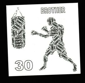 PERSONALISED BOXING WORDART BIRTHDAY CARD - ANY NAME  BOY/SON/DAD/BROTHER
