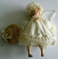 Kurt S. Adler Christmas Ornament Victorian Girl cream lace dress sun hat