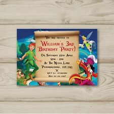 Peter Pan Tinkerbell Captain Hook Personalised Birthday Party Invitations