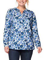 Womens plus size 16 to 28 Cotton long sleeve smock style top Blue /white