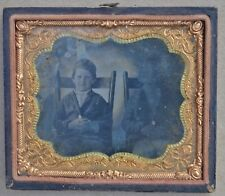 Civil War Tintype Two Children Boys Cane Bottom Chairs Hand Painted Gold