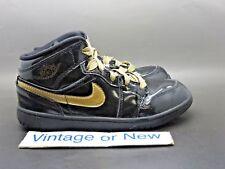 Girls Nike Air Jordan I 1 Phat Black Metallic Gold PS 2011 sz 2.5Y