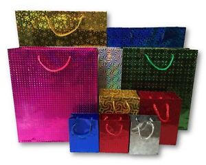 Holographic Paper Gift Bags Different Sizes Colours Birthday Party Christmas