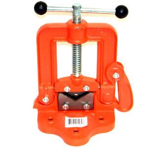 Bench Pipe Vise # 2 Yoke Hinged Clamp on Type Pipe Threader Plumbing Vice Tools