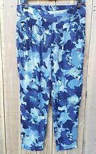 Sam & Lavi Pants Blue White Abstract Print Crop Skinny Leg Size Medium Pockets