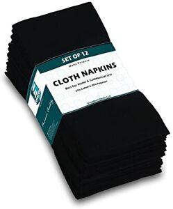 "Excellent Deals Cloth Napkins 12 Pack Black- Fabric Napkins 18"" x 18"" - Poly ..."