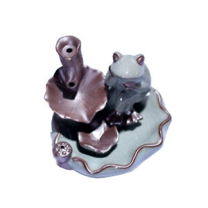 Lotus Backflow Incense Cone Burner Censer Waterfall Art Tower Joss Frog