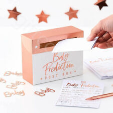 Rose Gold Baby Shower Prediction Cards Box Boy Girl Unisex Oh Baby Party Games