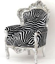 Grande BAROCCO POLTRONA prima d'argento... Black & White Zebra Look mobili per sedersi lusso barocco trono