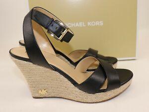 NIB $189 MICHAEL KORS Size 9 Women's Black 100% Leather KAMI Ankle Strap Wedge