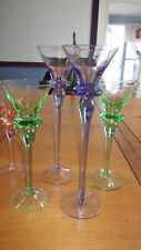 Colorful Graduated Cordial Liqueur Glasses Stems Lavender Pink Green 5 3oz stems