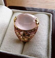LARGE OVAL PINK ROSE QUARTZ 925 STERLING SILVER ROSE YELLOW GOLD RING SZ S 9.5