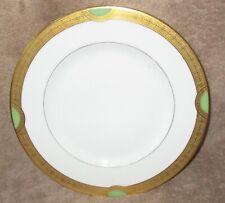 Hutschenreuther Selb Porcelain Dinner Plate Heavy Gold Trim Green Half Moon