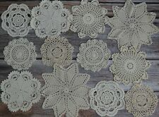 12 Crochet Doilies Lot French Country Rustic Wedding Ecru Table Runners Coasters