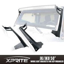 "Xprite 50"" LED Light Bar Windshield Top Roof Mounting Brackets Jeep Wrangler JK"