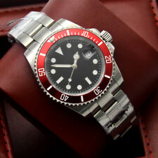 40mm black dial sapphire automatic mechanical men's watch red bezel