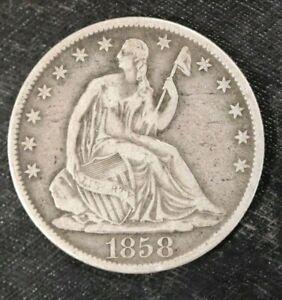 1858-O Seated Liberty Half Dollar- Scarce - Solid VF - L9B18