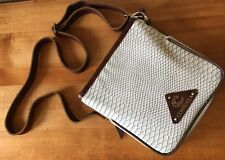 Consuela Purse Ivory Reptile Print Brown Leather Trim Graphic Print Accent