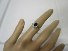 BEAUTIFUL ESTATE 14 KT GOLD .80 CTW. BLUE SAPPHIRE AND DIAMOND RING !!!!!!!!!!!