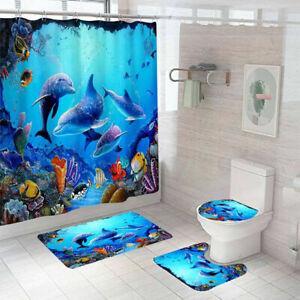 4pcs Dolphin Shower Curtain Bathroom Rug Set Bath Mat Non-Slip Toilet Lid Cover