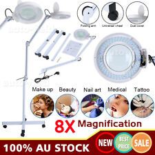 8x Magnifying Floor Lamp Glass Lens Beauty illuminating Magnifier Light AU