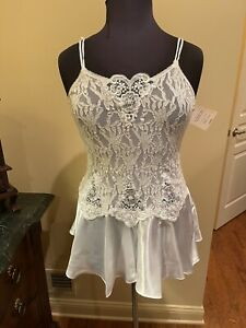 Vintage Woman's Lingerie Creamy White Lace & Satin Chemise Baby Doll Cami NEW