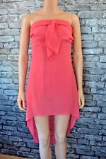 Coral Pink Sleeveless Voile Softly Draping Dress Evening Party Frock Uk Size 10