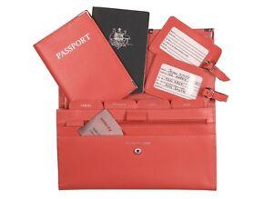 4 Piece Leather Travel Wallet - Organiser Document Set Orange - Brand New Set