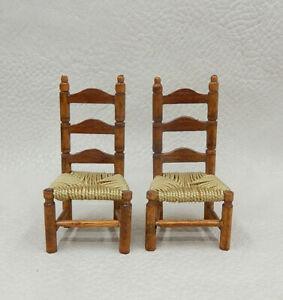 2 Vintage 1/4 Scale Shaker Ladder Back Chair Artisan Dollhouse Miniature 1:48