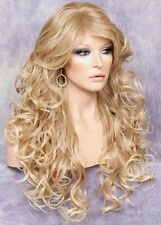 Long Beach Wavy Blonde mix Full Wig Heat OK Hair Piece Layers Bangs 27-613 SOW