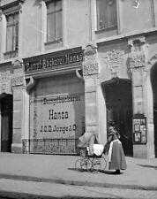 Photo. ca 1900. Lübeck, Germany. Steam Bakery - Woman & Baby Carriage