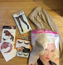 Halloween Diva,Wig,Gold Skirt (S),Adult Skull Tights,2 Set Eyelashes,Eye Tattos
