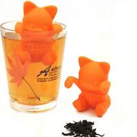 Cat Tea Strainer Infuser Filter Silicone Leaf Spice Herbal Loose Diffuser QK