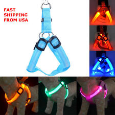 Pet Dog LED Glow Flash Harness Chest Collar Light Up Safety Belt Clothes Decor