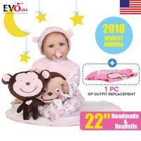 "22"" 55cm Reborn Baby Doll Soft Handmade Lifelike Newborn Girl Doll Realistic"