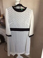 United Colours Of Benetton Womens Ladies Cream Lace Over Lay Dress Size 8 Bnwt