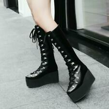 Goth Punk Lace Up Platform Mid-Calf Boots Lady Nightclub Show Wedge Women Shoes