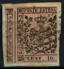 Italy Modena 1852, 10c Black On Rose With Dot Used On Piece #D62450
