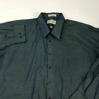 Natural Exchange Button Up Shirt Men's Size 20 Tall Long Sleeve Green Blue