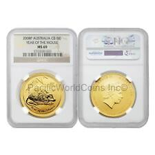 Australia 2008 Year of Mouse 100 Dollars Gold NGC MS69