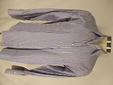Borrelli Napoli Mens Blue Stripe French Cuff Dress Shirt 15.5-36