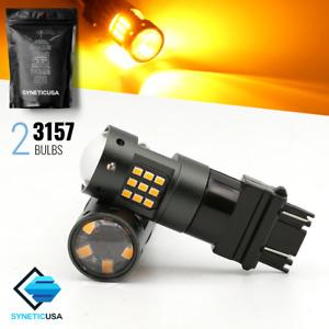 2x 3157 High Power Amber Yellow 33-LED Turn Signal Parking DRL LED Light Bulbs