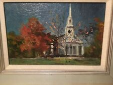 Beautiful Contemporary Painting Berkshires Church Fall Foliage Signed Lennon?
