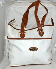 Capezio White Faux Leather with Brown Faux Leather Trim Tote Bag